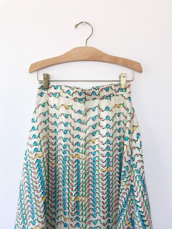 Tulip print skirt / vintage floral print skirt / … - image 10