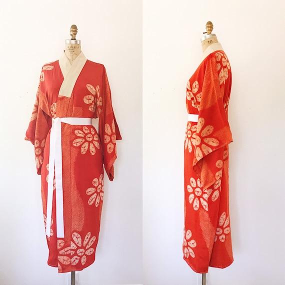 vintage kimono robe / vintage silk kimono / Shibor