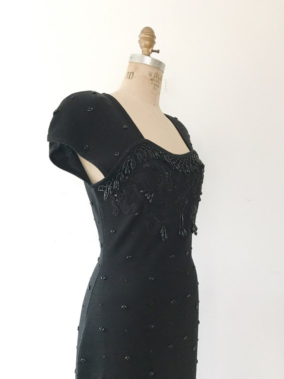 black beaded dress / vintage 80s dress / vintage … - image 6
