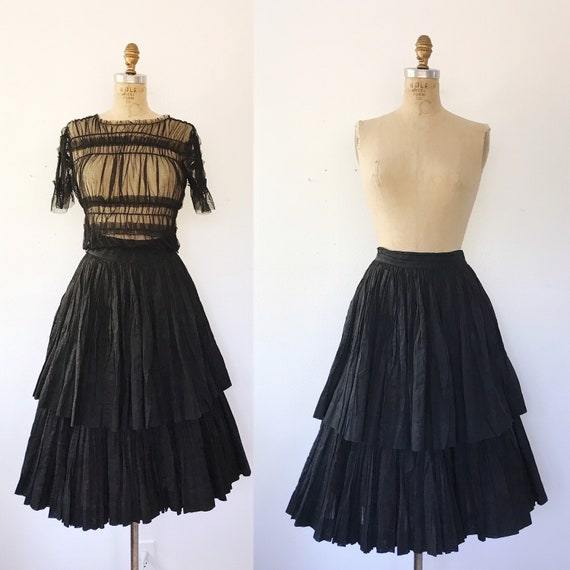 50s black cotton skirt / vintage ruffled skirt / T