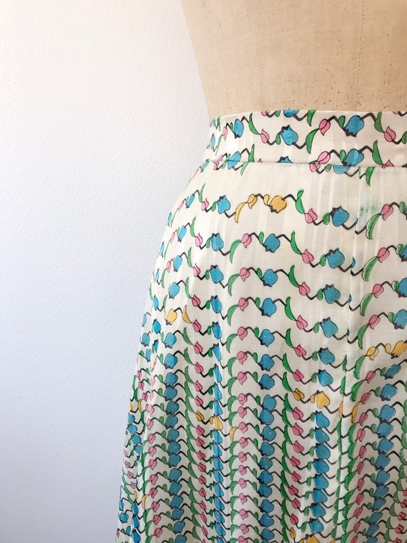 Tulip print skirt / vintage floral print skirt / … - image 2