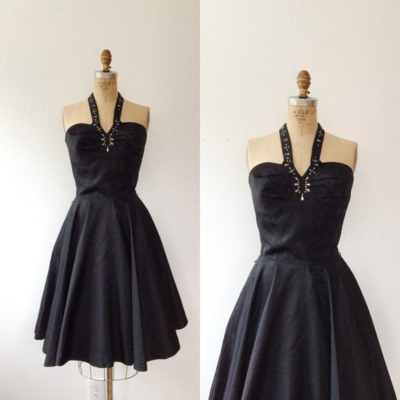 1950s halter dress / 1950s party dress / Bombshell
