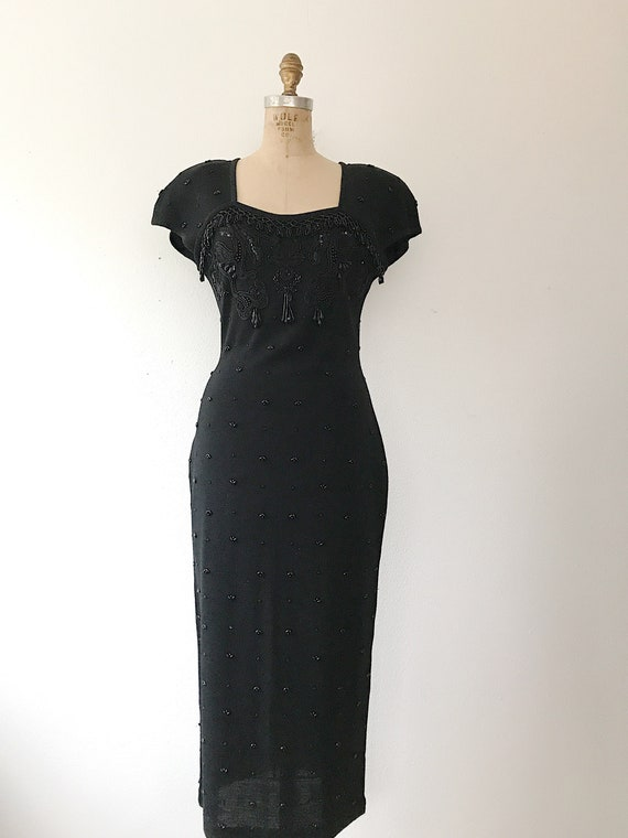 black beaded dress / vintage 80s dress / vintage … - image 3
