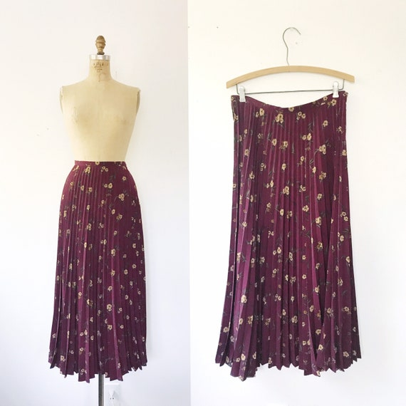 pleated maxi skirt / 90s vintage skirt / Floral Wi