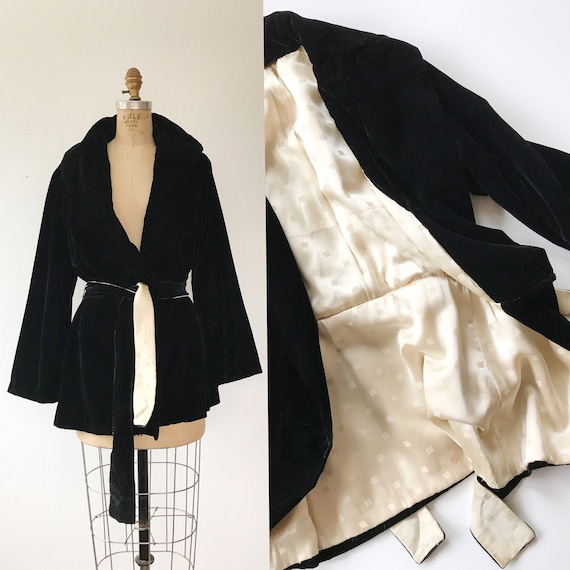 1930s velvet jacket / Silk Velvet Jacket / Myrna W