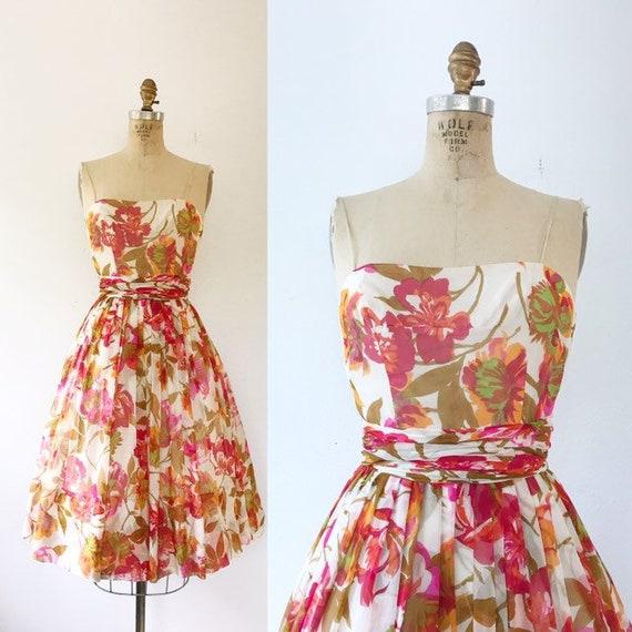 Frank Starr dress / 1950s silk dress / vintage flo