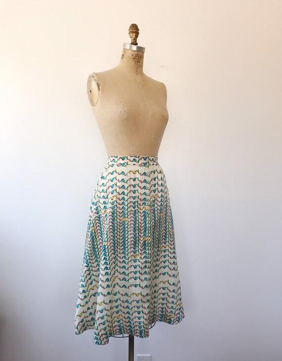 Tulip print skirt / vintage floral print skirt / … - image 4