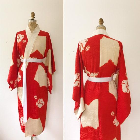 vintage kimono robe / vintage silk kimono / Shuiro