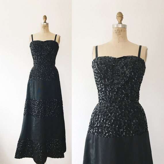 1950s evening gown / vintage black evening gown /