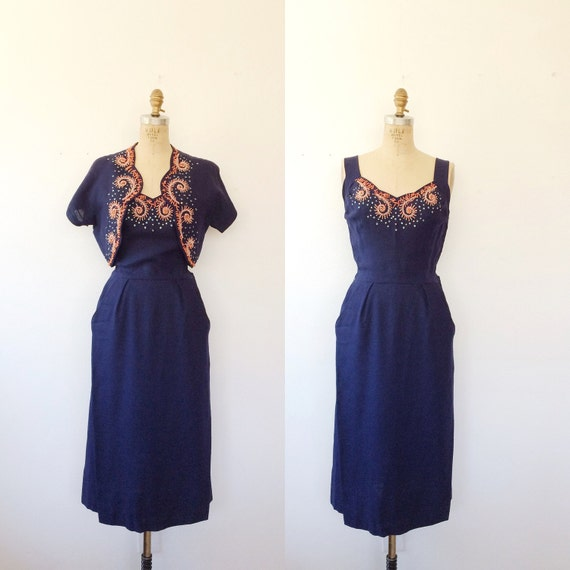 Moygashel dress / 1950s dress / St. George linen d