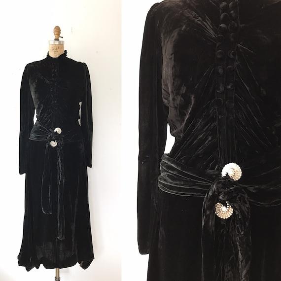 SALE 30s velvet dress / 30s black evening dress /