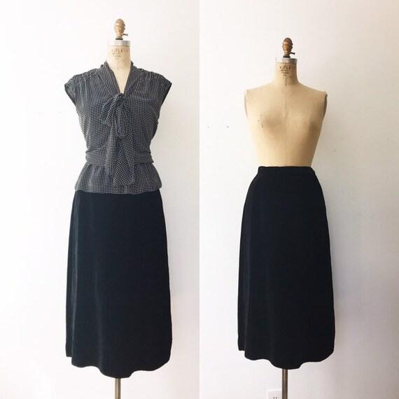 velvet pencil skirt / vintage 50s skirt / 50s blac