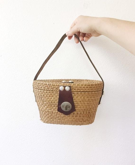 1950s basket bag / vintage basket purse / Jana bas