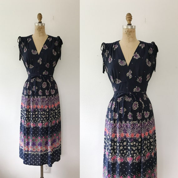 70s floral print dress / vintage 70s dress / Autum