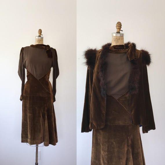 1930s dress / silk and velvet dress / 30s Aris dre