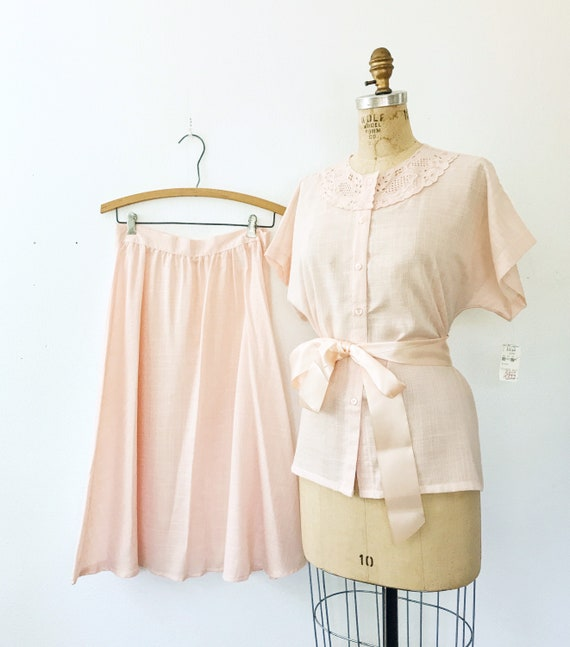 vintage lace dress / peach two piece dress / NOS C