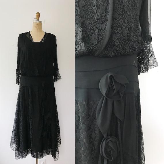 1920s dress / vintage silk dress / Cascade Lace Bl