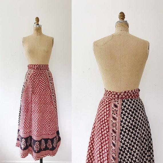 vintage Indian cotton skirt / 70s wrap skirt / Hal
