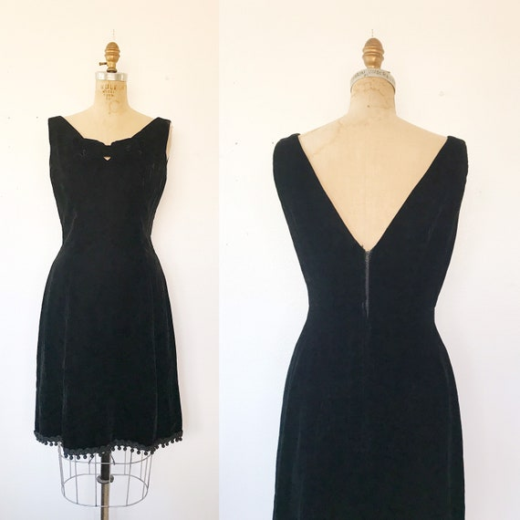 velvet cocktail Dress / 1950s cocktail dress / Vel