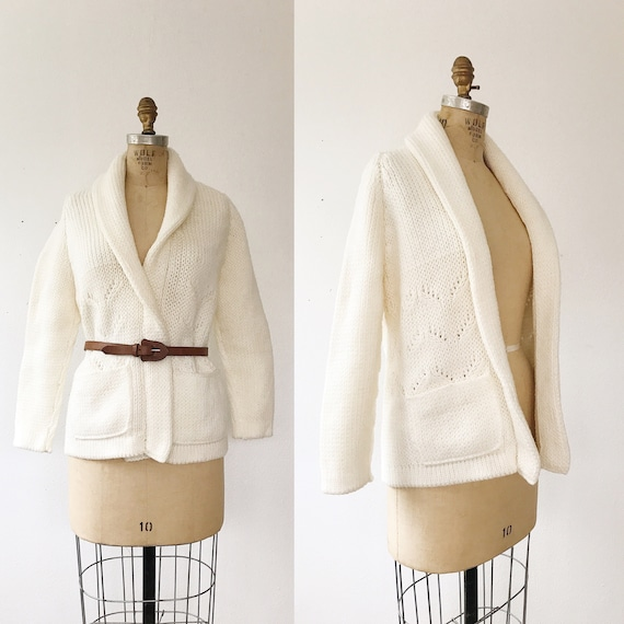 vintage cardigan / shawl collar cardigan / Chevron