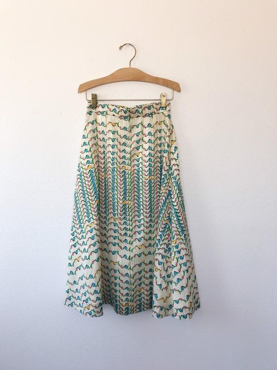 Tulip print skirt / vintage floral print skirt / … - image 9