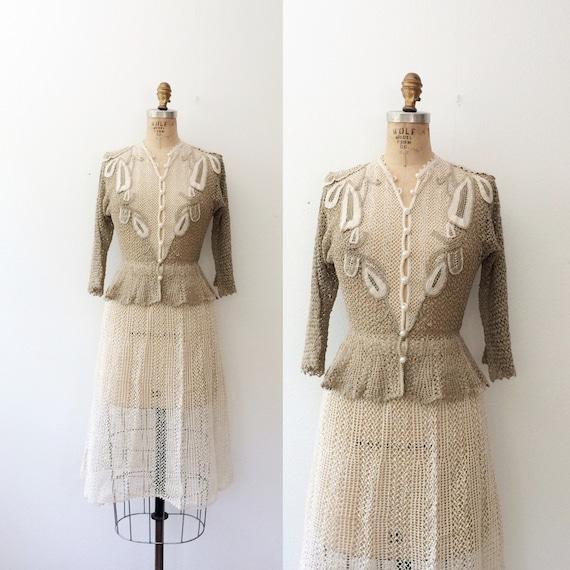 vintage crochet dress / vintage peplum dress / Swe
