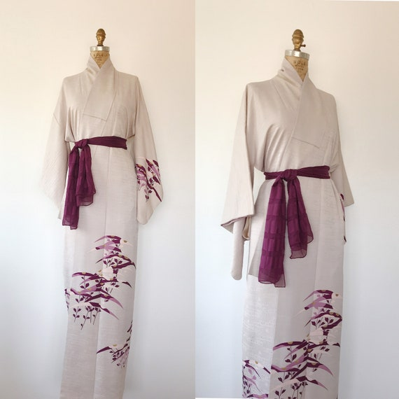 Forest Grass silk crepe kimono / kimono robe / vin