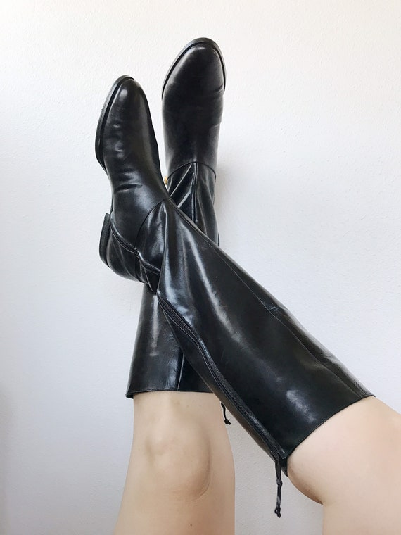 vintage leather boots / black leather boots / Salv