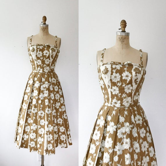 Trellis dress / 50s floral dress / 50s cotton dres