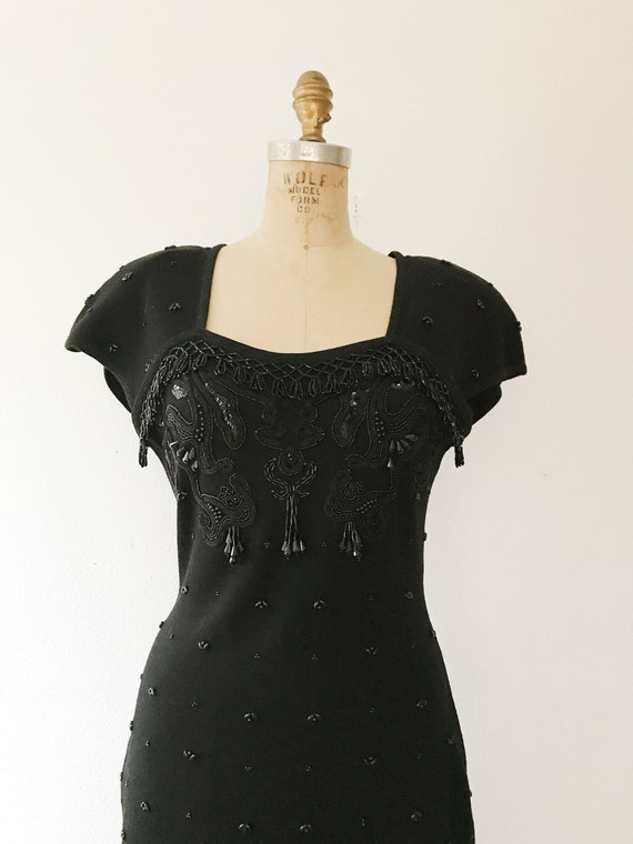 black beaded dress / vintage 80s dress / vintage … - image 4