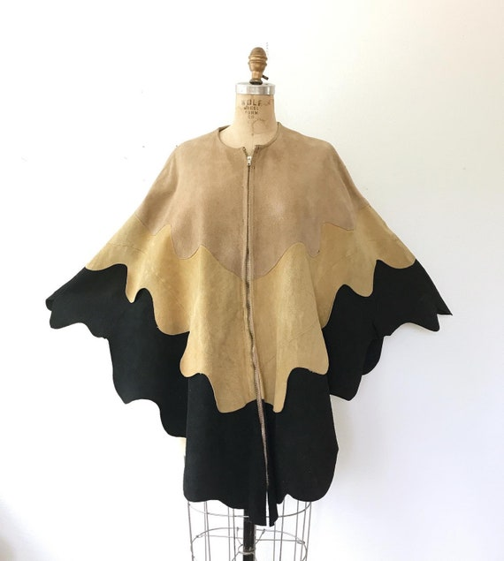 vintage cape / Nubuck leather cape / Mothwing cape