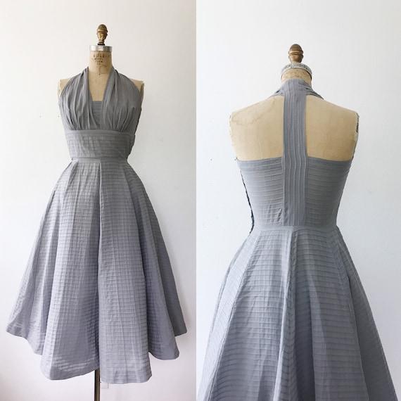 1950s dress / vintage halter dress / 50s Gray Cott