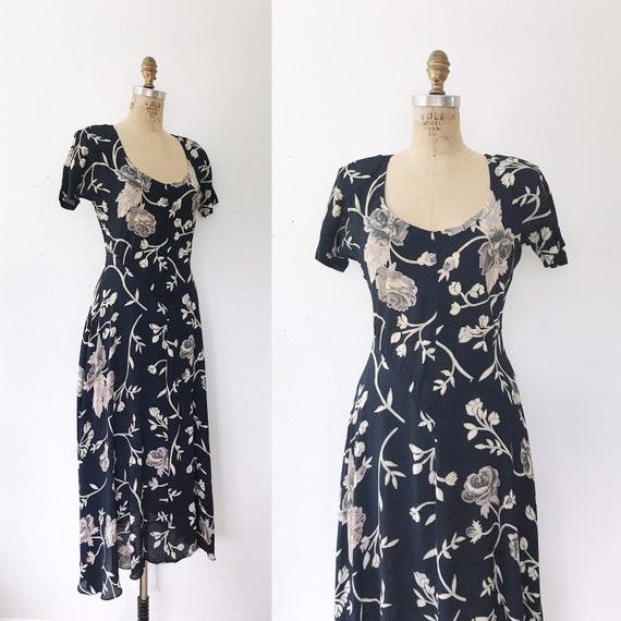 90s vintage dress / rayon maxi dress / Climbing Ro