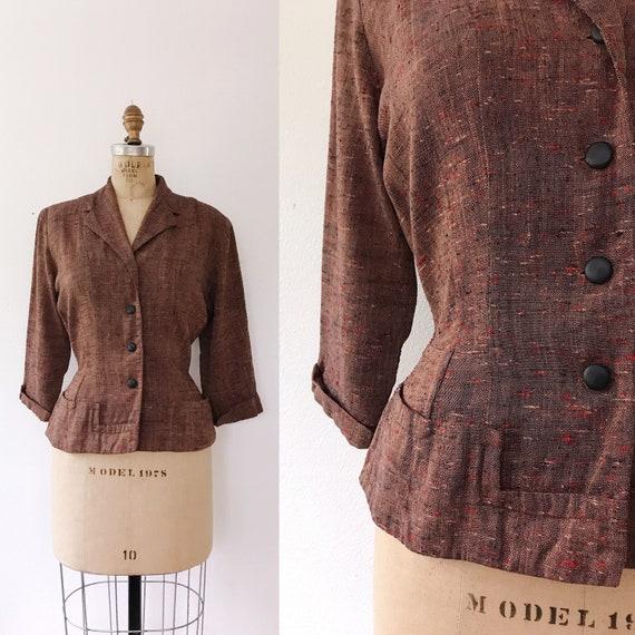 1940s Jacket / 1940s dress jacket / Peplum Tweed B
