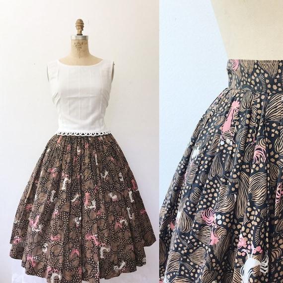 Novelty print skirt / vintage circle skirt / 50s R
