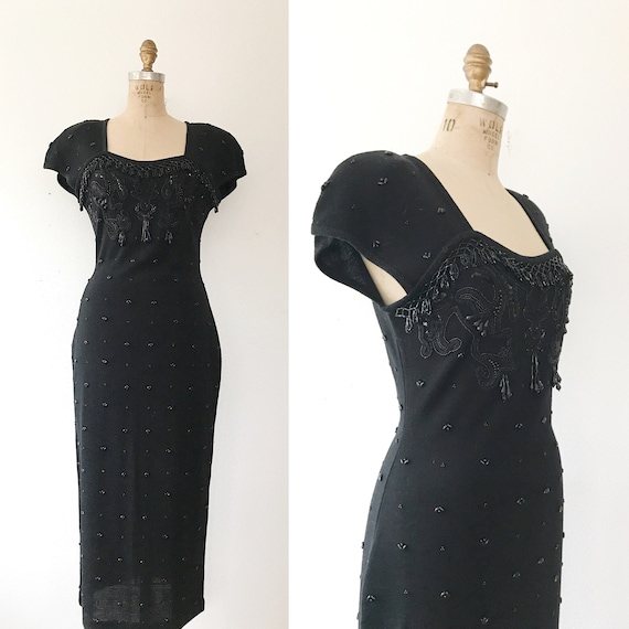 black beaded dress / vintage 80s dress / vintage … - image 1
