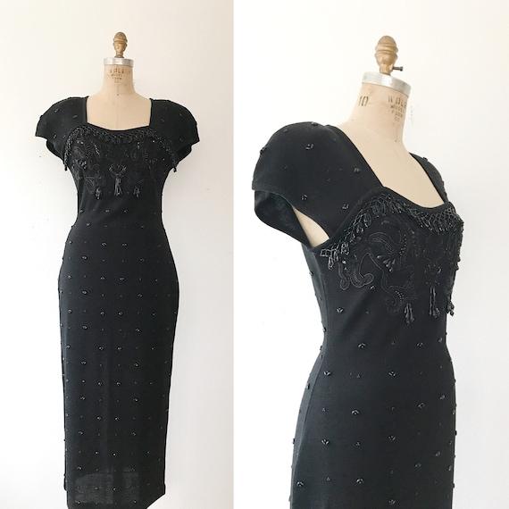 black beaded dress / vintage 80s dress / vintage s