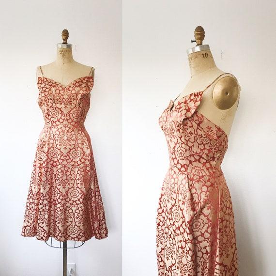 Painted Moth dress / vintage cocktail dress / 1950