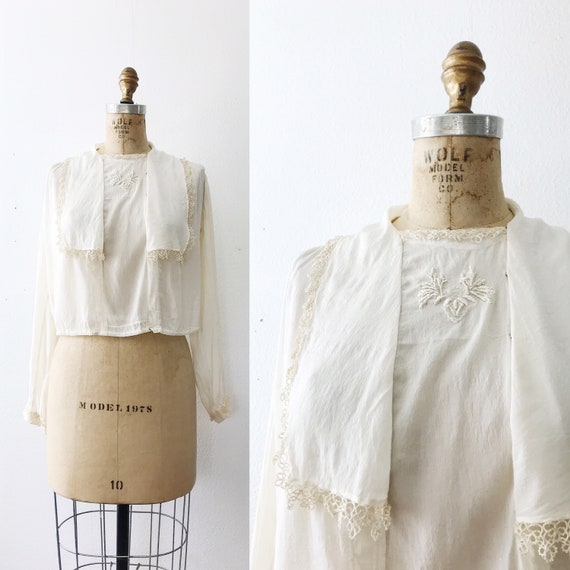 1910s blouse / vintage silk blouse / Silk & Lace b