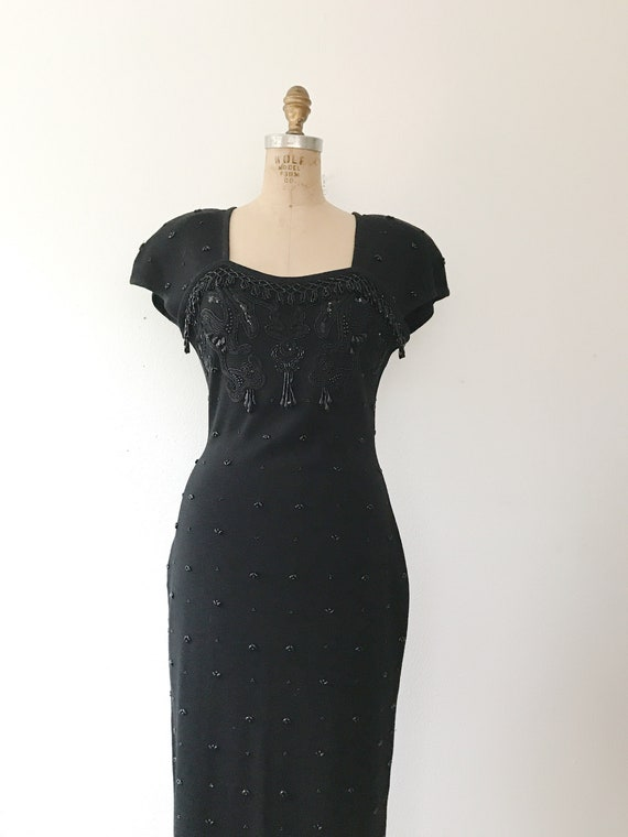 black beaded dress / vintage 80s dress / vintage … - image 5