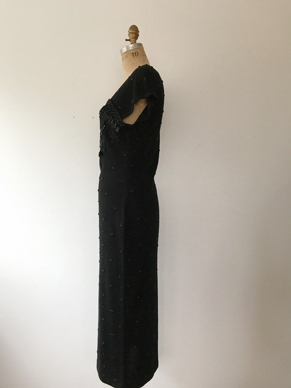 black beaded dress / vintage 80s dress / vintage … - image 8