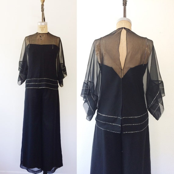 vintage jumpsuit / black jumpsuit / Evening Jumpsu