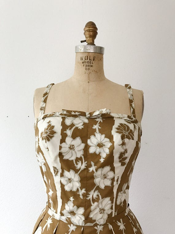 Trellis dress / 50s floral dress / 50s cotton dre… - image 2