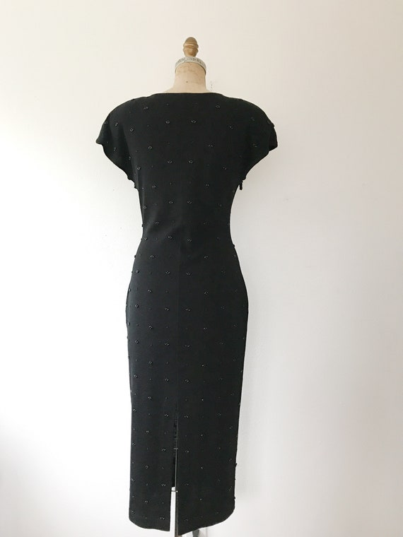 black beaded dress / vintage 80s dress / vintage … - image 9