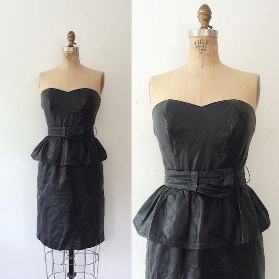 leather dress / strapless dress / Regeant Leather