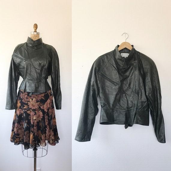 vintage leather jacket / 80s leather jacket / Oliv