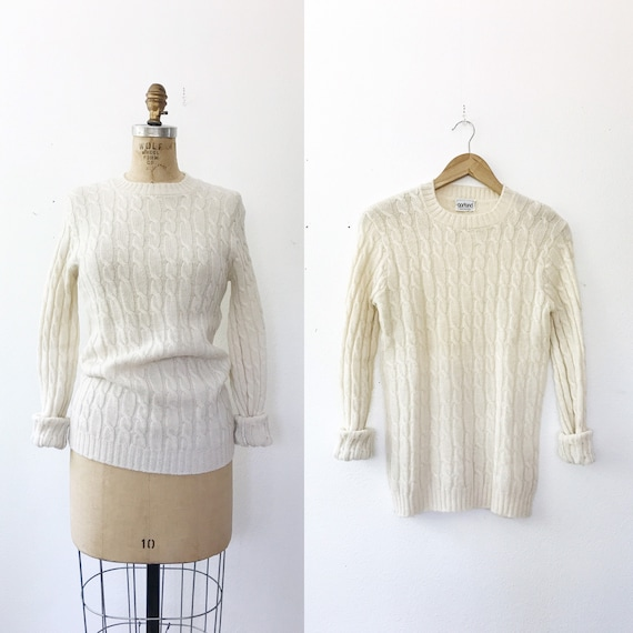 vintage wool sweater / vintage Cable-knit sweater