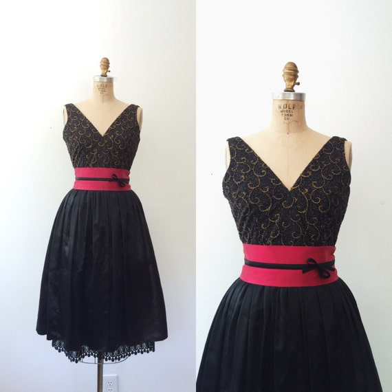 vintage party dress / satin evening dress / Gilded