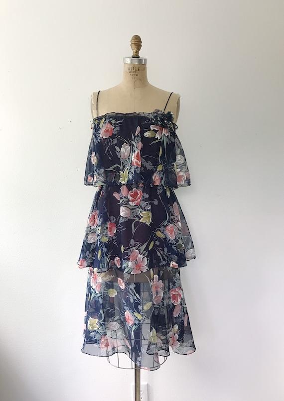 Navy Ruffle dress / Tulip print dress / 1970s vin… - image 2