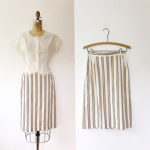 1950s skirt / 1950s cotton skirt / striped pencil